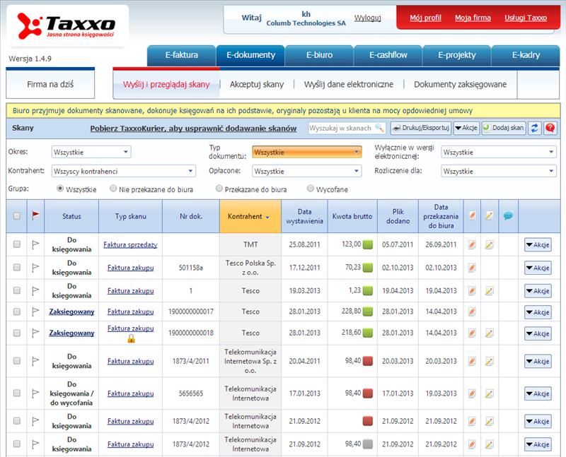 Taxxo e-dokumenty - elektroniczny obieg dokumentów dla biura rachunkowego i jego klientów