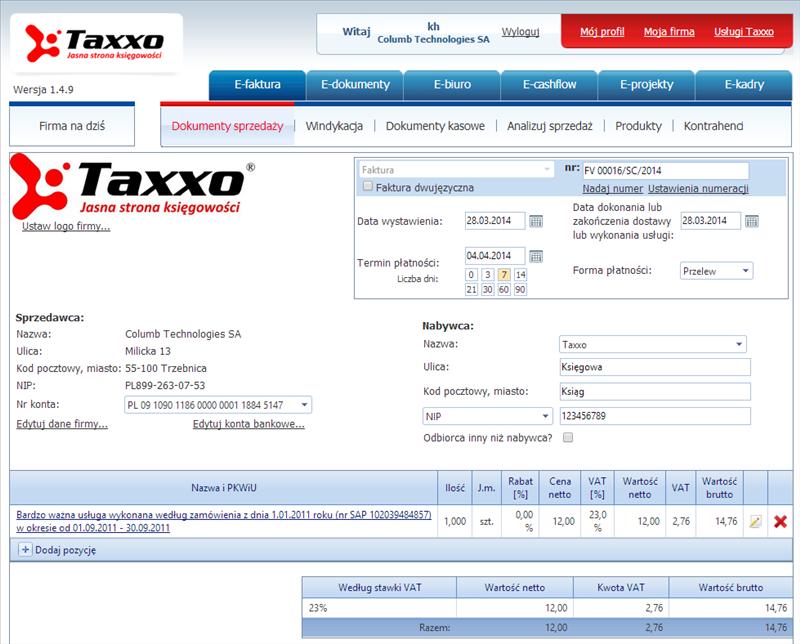 Taxxo e-faktura - wygodne fakturowanie online dla spółek i automatyczne księgowanie faktur w 35 systemach księgowych!