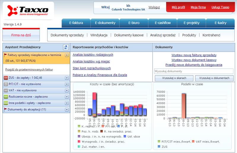 Taxxo e-biuro rachunkowe - dostęp do danych i raportów online