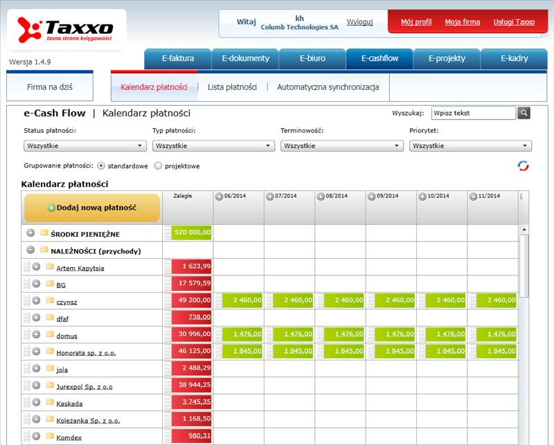 Taxxo e-cash flow - interaktywny kalendarz płatności