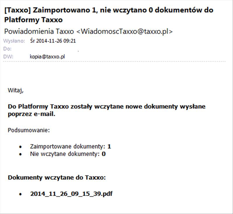 Taxxo wysyłka dokumentów e-mailem