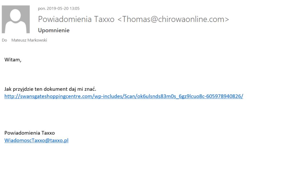 Fałszywa wiadomość e-mail podszywająca się pod Taxxo